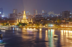 Wat arun or Temple of dawn at night, Bangkok Stock Photography