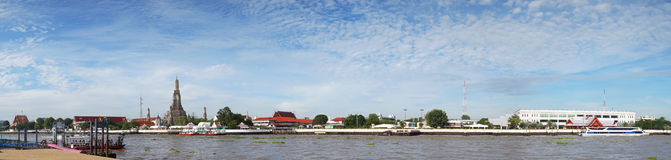 Wat Arun Temple of Dawn in Panoramic View Bangkok Thailand Royalty Free Stock Photography