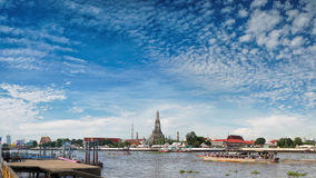 Wat Arun Temple of Dawn in Panoramic View Bangkok Thailand Stock Photo