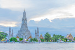 Wat Arun, The Temple of Dawn, at twilight. View across river. Bangkok, Thailand royalty free stock photo