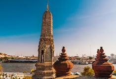 Wat Arun, the Temple of Dawn and veiw on the Chao Praya river Stock Image