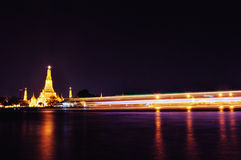 Wat Arun temple with lights in Thailand Royalty Free Stock Images