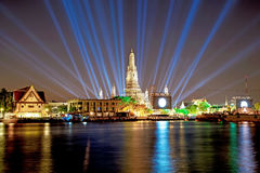 Wat Arun Temple in the night with Lighting effects Royalty Free Stock Image