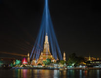 Wat Arun temple at night. Wat Arun temple during lights show celebration new year festival Stock Image