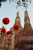 Wat arun temple and red lanterns. View of wat arun temple and red lanterns in bangkok, thailand royalty free stock photos