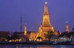 Wat arun. Temple and river in bangkok (thailand royalty free stock images