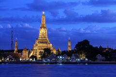 Wat Arun Temple in sunset. Wat Arun Temple illuminated at sunset. Bangkok, Thailand Stock Images