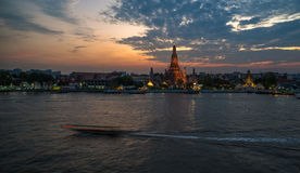 Wat Arun temple in sunset, Bangkok landmark Stock Images