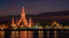 Wat Arun Temple in sunset at bangkok Thailand Stock Photo