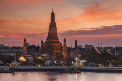 Wat Arun Temple at sunset. Bangkok. Stock Photo