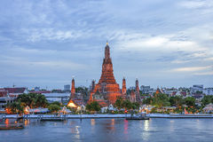 Wat Arun Temple at sunset in bangkok Thailand . Royalty Free Stock Image