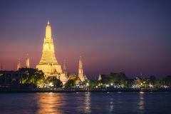 Illuminate Wat arun temple at twilight in bangkok , thailand. Wat arun temple at twilight in bangkok , thailand , Southeast Asia Royalty Free Stock Photos