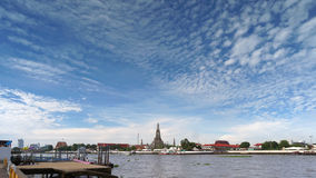 Wat Arun Temple van Dawn in Panorama Bangkok Thailand Stock Foto