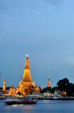 Wat Arun at twilight. The Old Temple of Bangkok, Thailand Royalty Free Stock Image
