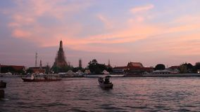 Wat Arun, twilight evening. Wat arun temple bangkok thailand in  twilight evening stock video footage