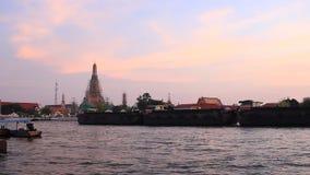 Wat Arun, twilight evening stock footage