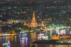Wat arun under loy krathong day ,Thailand Royalty Free Stock Photo