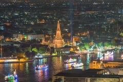 Wat arun under loy krathong day ,Thailand Royalty Free Stock Photo