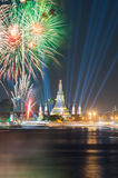 Wat arun under new year celebration time, Thailand. Stock Photo