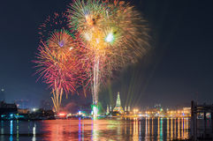 Wat arun under new year celebration time, Thailand.  Royalty Free Stock Photography