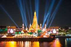 Wat arun under new year celebration time, Thailand Royalty Free Stock Image
