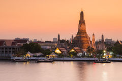 Wat Arun waterfront after sunset Stock Image