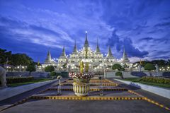 Wat asokaram, Asokaram temple in twilight time. Shooting in the temple stock photos