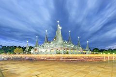 Wat Asokkaram. Shoot Inside the temple during the most important activity for Buddhist royalty free stock photos