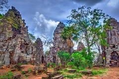 Wat Banan temple, Battambang. Pagoda of the Wat Banan old Khmer civilization temple, Cambodia, HDR Photo royalty free stock photo