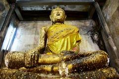 Wat Bang Kung at Bang Kung Sub-district in Bang Khontee District of Samut Songkhram, Thailand. Old buddha statue in ubosot of Wat Bang Kung for people travel and Royalty Free Stock Photos