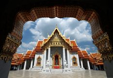 Wat Benchamabophit,佛教大理石寺庙在曼谷 库存图片