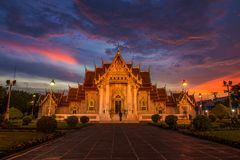 Wat Benchamabophit в Таиланде мраморный висок Стоковое Фото