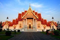 Wat Benchamabophit Dusitvanaram (The Marble Temple). In front of the Buddhist temple (wat) in the Dusit district of Bangkok, Thailand Royalty Free Stock Photography