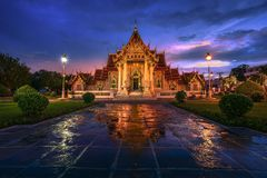 Wat Benchamabophit Dusitvanaram. Shoot from Bangkok Royalty Free Stock Images