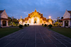 Wat Benchamabophit Dusitvanaram  in twilight time, Bangkok, Thailand Stock Images