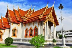 Wat Benchamabophit or the marble temple in Bangkok, Thailand Stock Photos