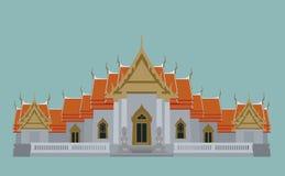 Wat Benchamabopit Dusitvanaram, Babgkok, Thailand. Vector of Wat Benchamabopit Dusitvanaram, Babgkok, Thailand on blue background Royalty Free Stock Photography