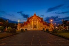 Wat Benjamabopit marmortempel Arkivfoto
