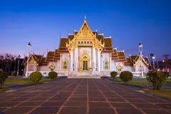 Wat benjamaborphit dusitvanaram or marble temple at twilight royalty free stock photos