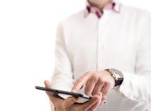 Wat betreft een tablet Stock Foto's