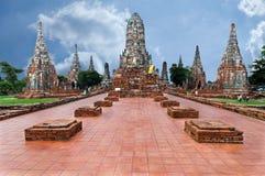 Wat Chai för gammal tempel watthanaram i forntida Ayuttaya Arkivbilder