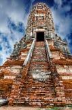 Wat Chai för gammal tempel watthanaram i forntida Ayuttaya Arkivfoto