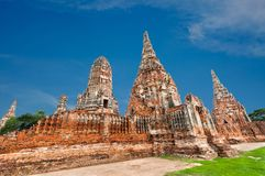 Wat Chai för gammal tempel watthanaram i forntida Ayuttaya Arkivfoton