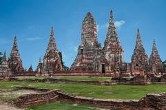 Wat Chai för gammal tempel watthanaram i forntida Ayuttaya Fotografering för Bildbyråer