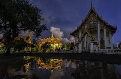 Wat Chai Rattanaram afton Arkivfoto