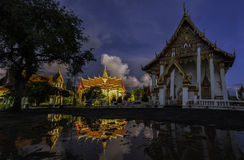 Wat Chai Rattanaram-avond Stock Foto
