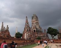 Wat Chai Wattanaram, Ancient Temple in Ayutthaya, Thailand stock photography