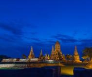 Wat Chai Wattanaram en crepúsculo Fotografía de archivo