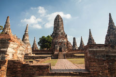 Wat Chai Watthanaram, acient Ruine Stockbilder
