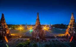 Wat Chai Watthanaram alla notte Fotografie Stock Libere da Diritti